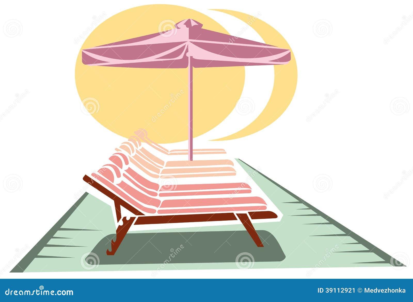 Sunbeds en paraplu