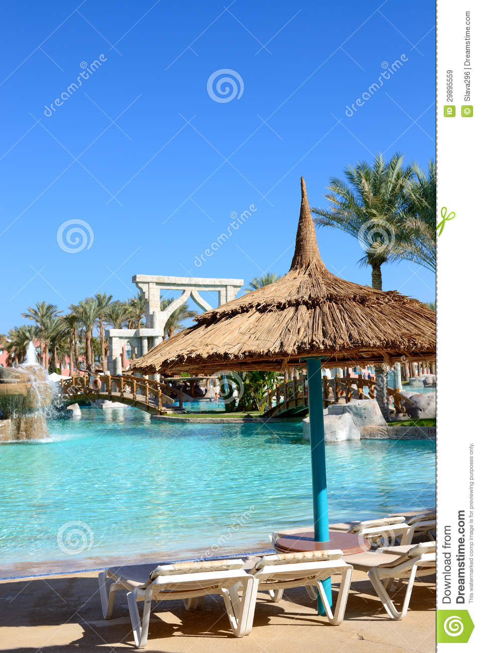 Sunbeds Near Swimming Pool At Luxury Hotel Royalty Free Stock Images Image 29895559