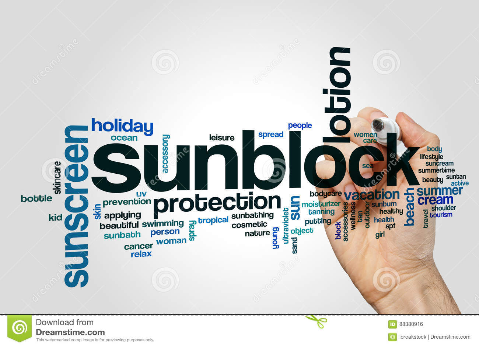 Sunblock word cloud