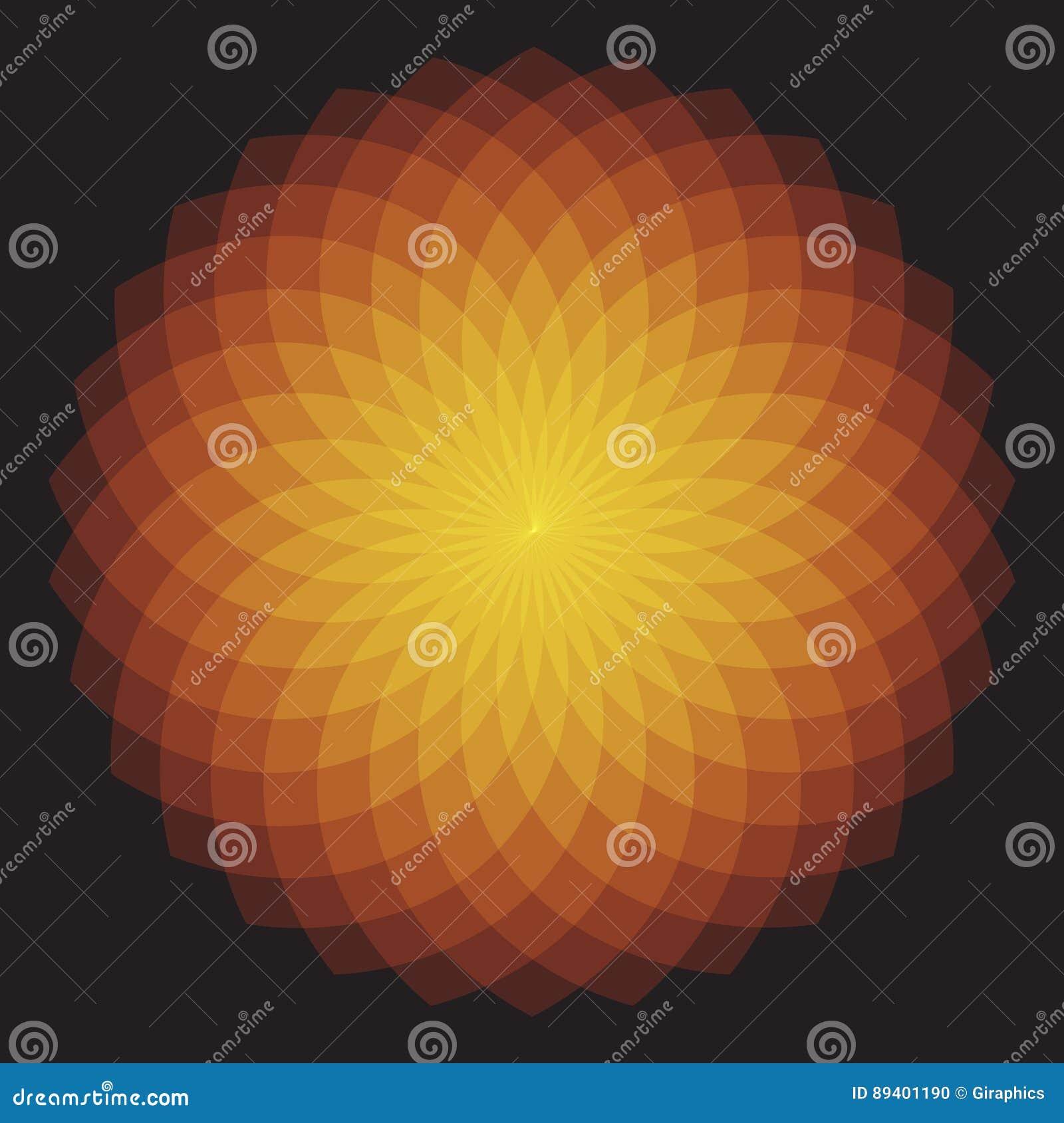 Sunburst geométrico alaranjado