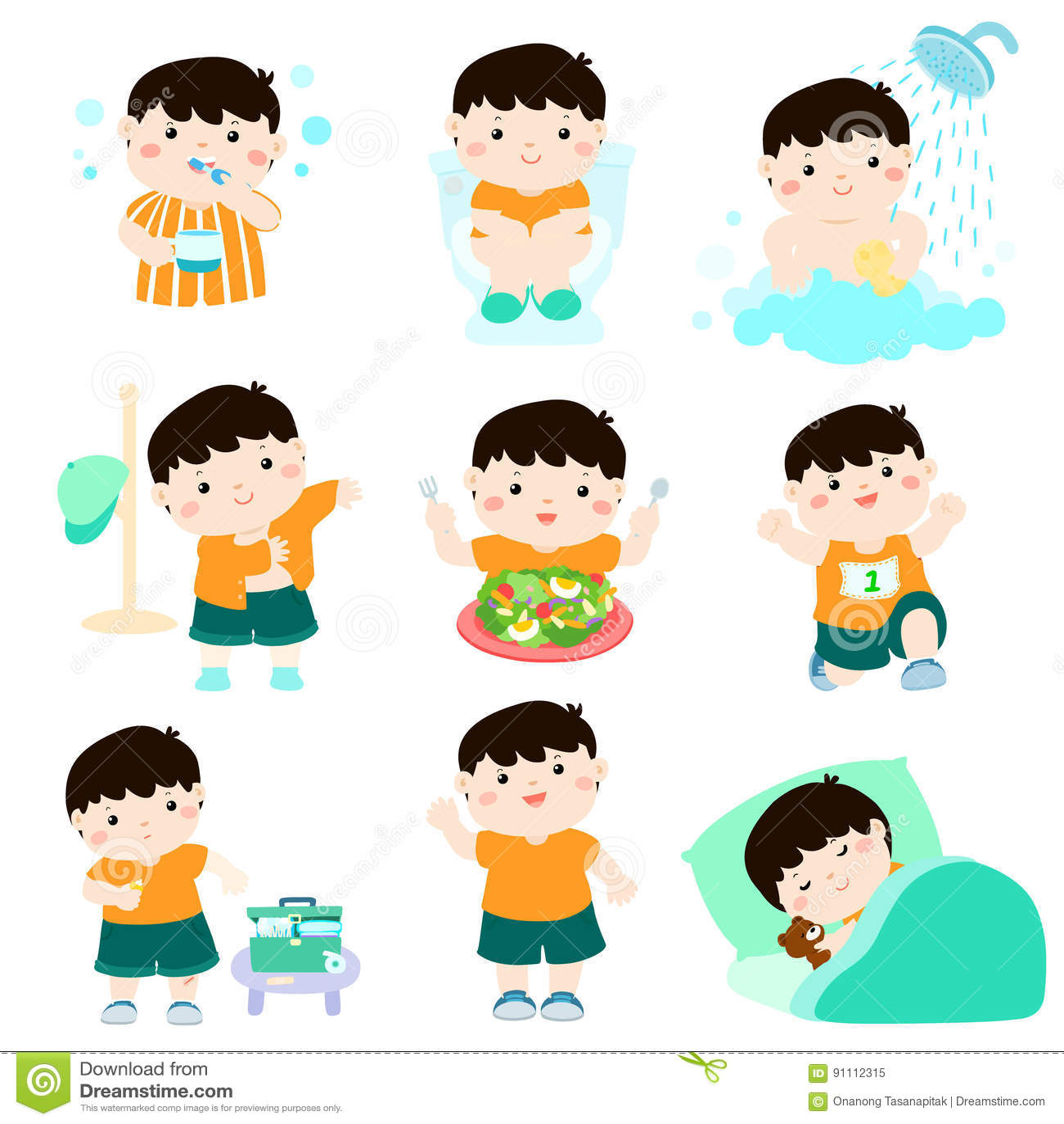 Sund hygien för pojketecknad film