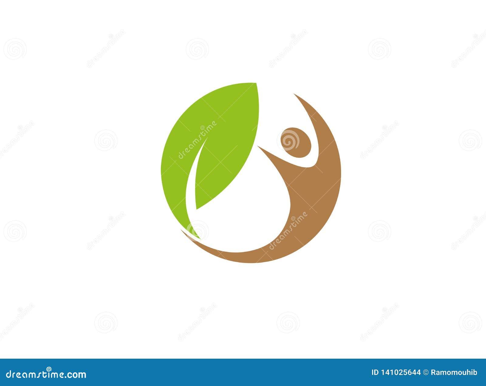Sund mänsklig natur och blad i cirkeln för logodesignillustration