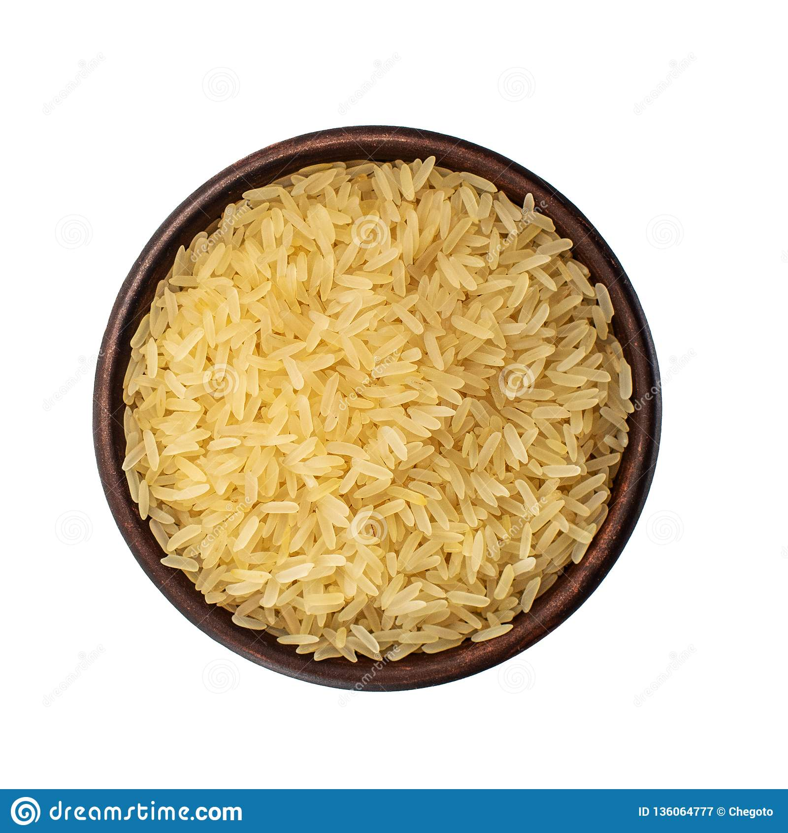 Sund mat Brun bunke med ris som isoleras på vit bakgrund Top beskådar