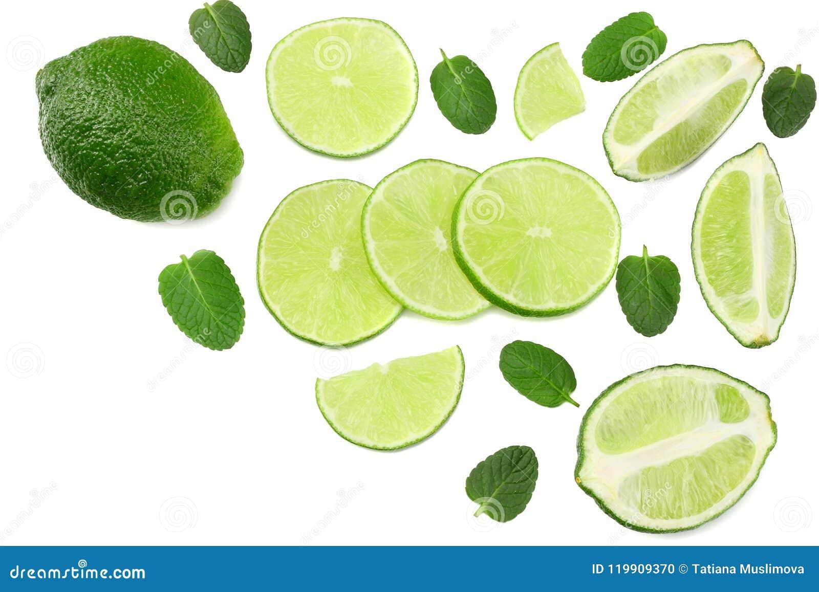 Sund mat limefrukt med mintkaramellsidor som isoleras på bästa sikt för vit bakgrund