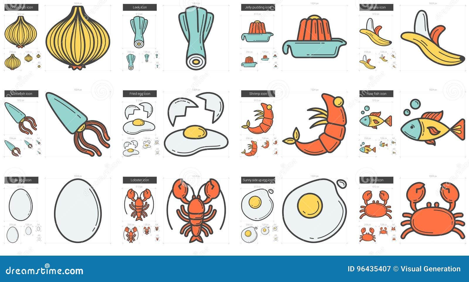 Sund matlinje symbolsuppsättning