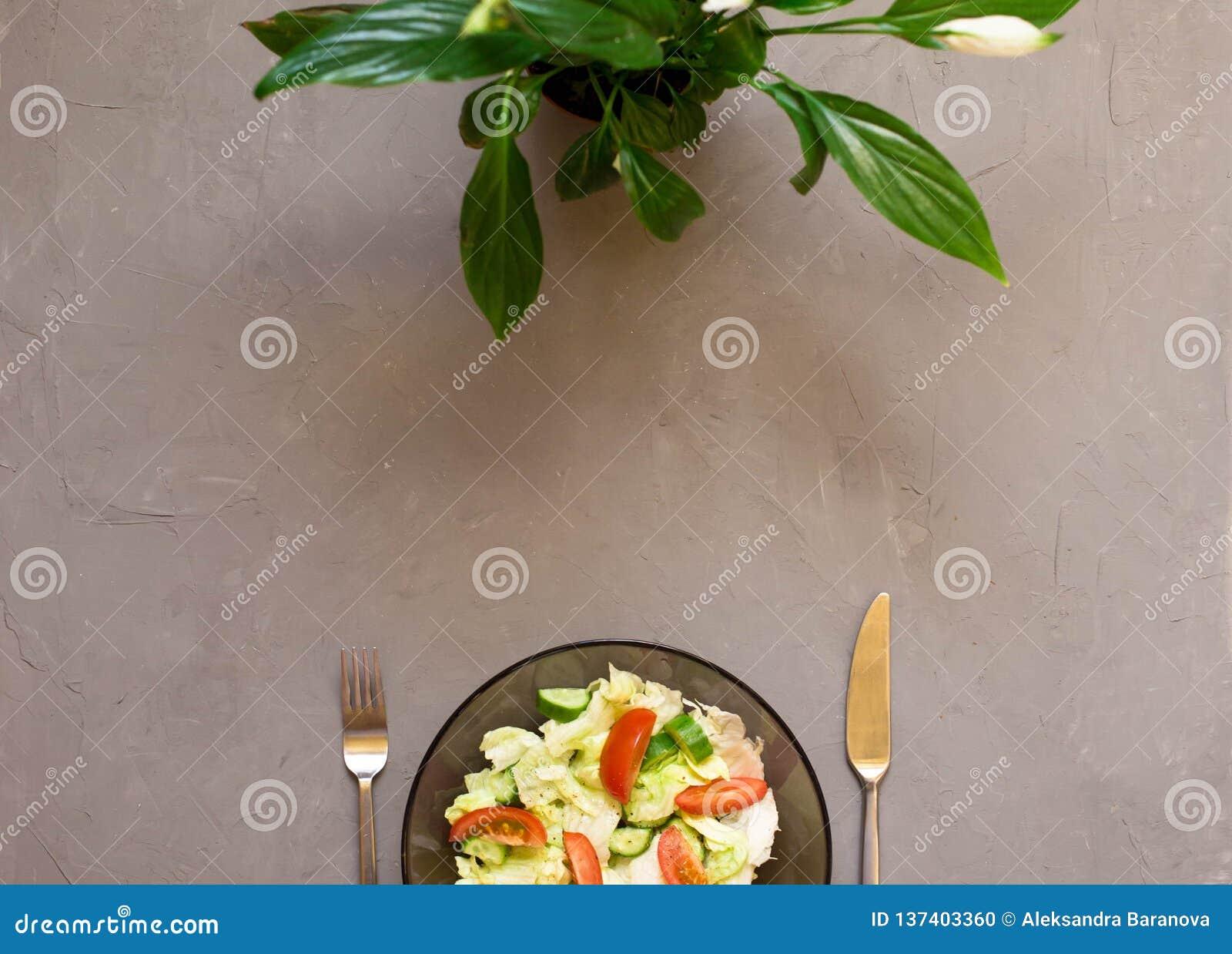 Sund sallad, ny grönsak, tomater, gurkor, isberg, bestick, Spathiphyllum, grå bakgrund