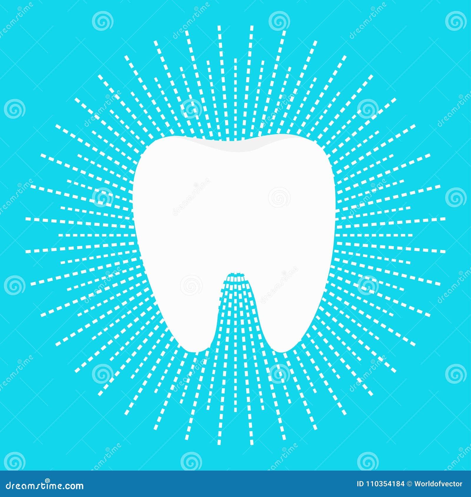 Sund vit tandsymbol Strecklinje rundacirkel Muntlig tand- hygien Barntandomsorg Glänsande effekt Göra vit blått ljust