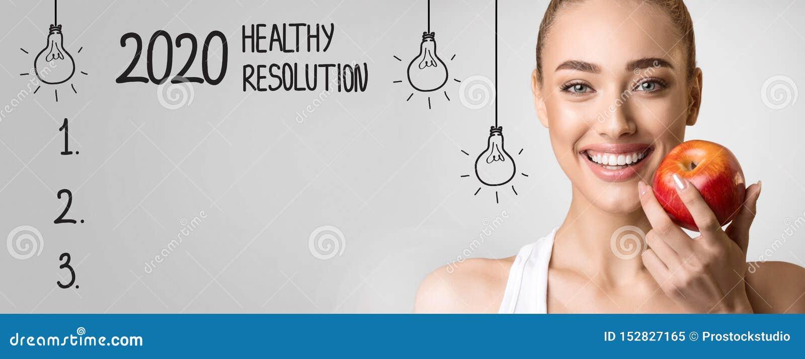2020 sunda upplösning med den tomma kontrollistan och den lyckliga kvinnan