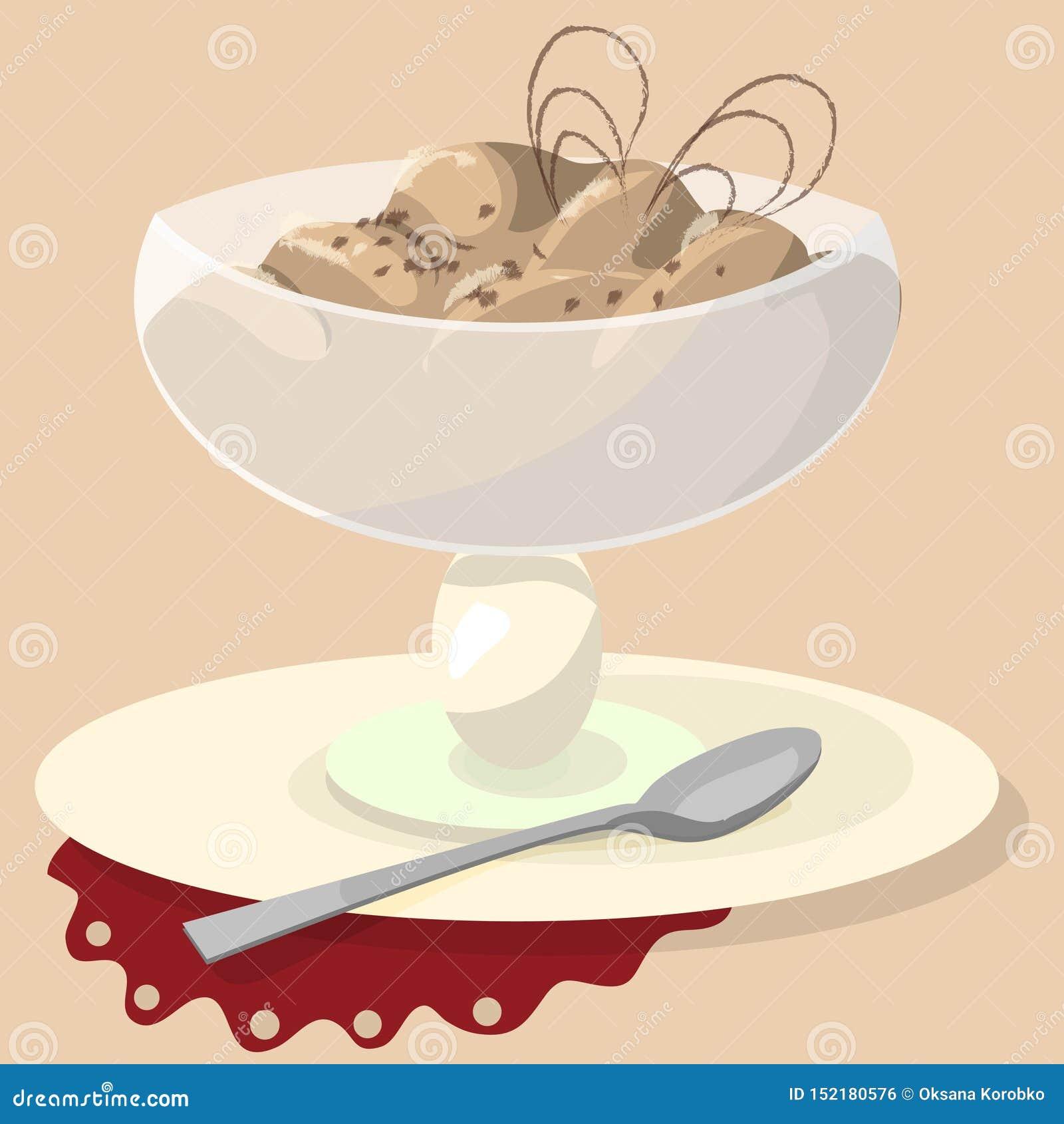Sundae σοκολάτας σε ένα άσπρο υπόβαθρο Διανυσματική απεικόνιση φλυτζανιών παγωτού