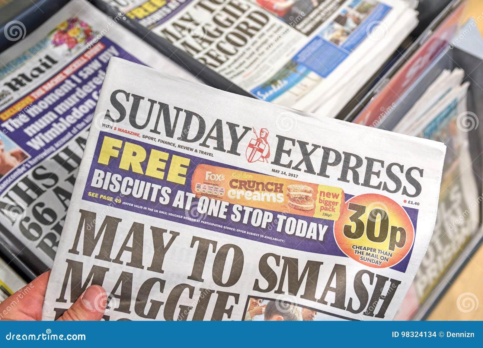 Sunday Express newspaper editorial stock image  Image of
