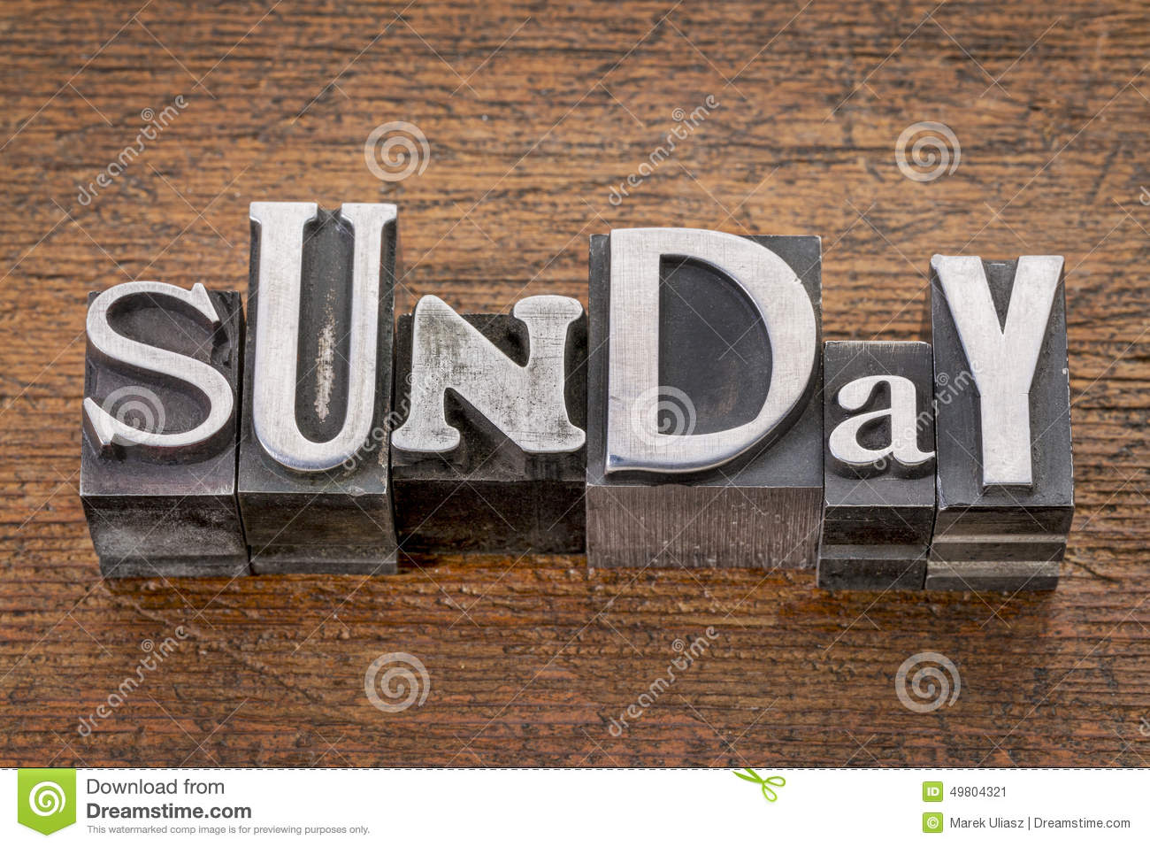 sunday in metal type stock image  image of grained  sunday