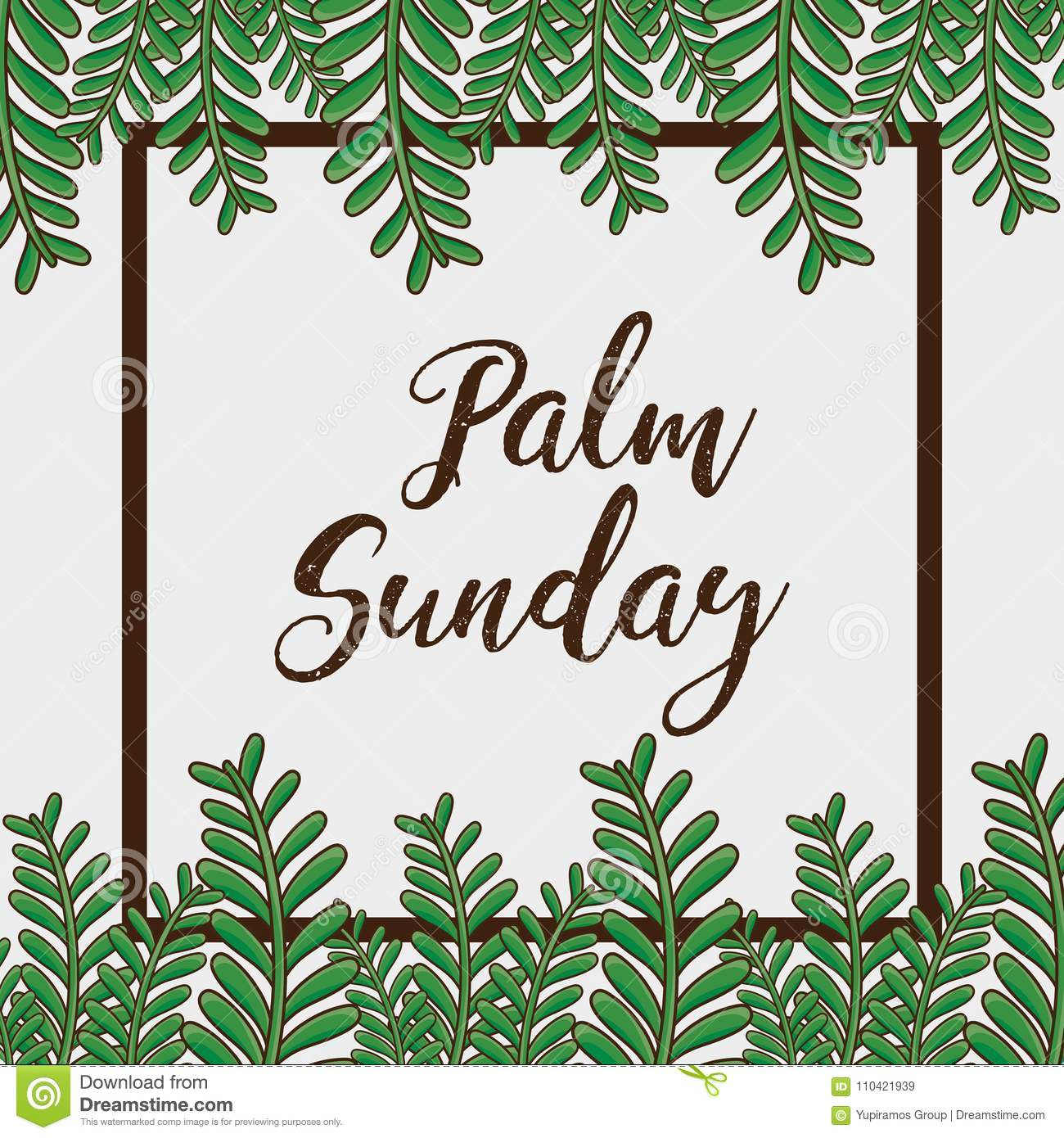 Sunday palm branches religion background