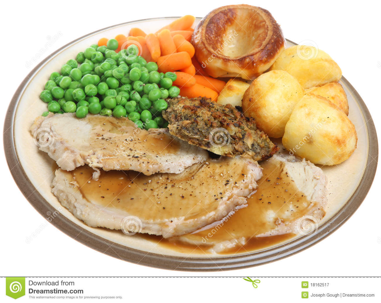Sunday Roast Pork Dinner Royalty Free Stock Photography - Image ...