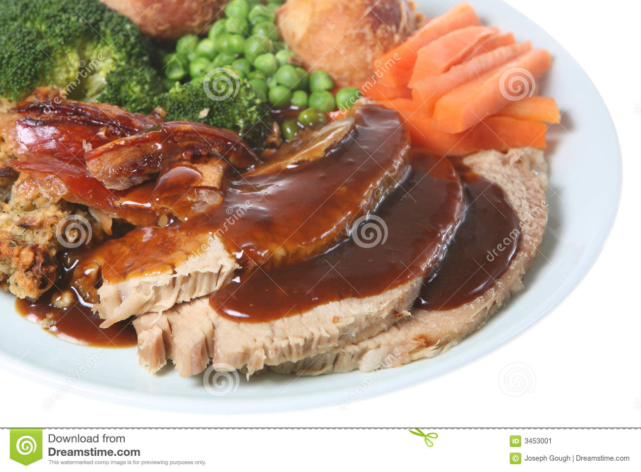 Sunday Roast Pork Dinner Stock Image - Image: 3453001