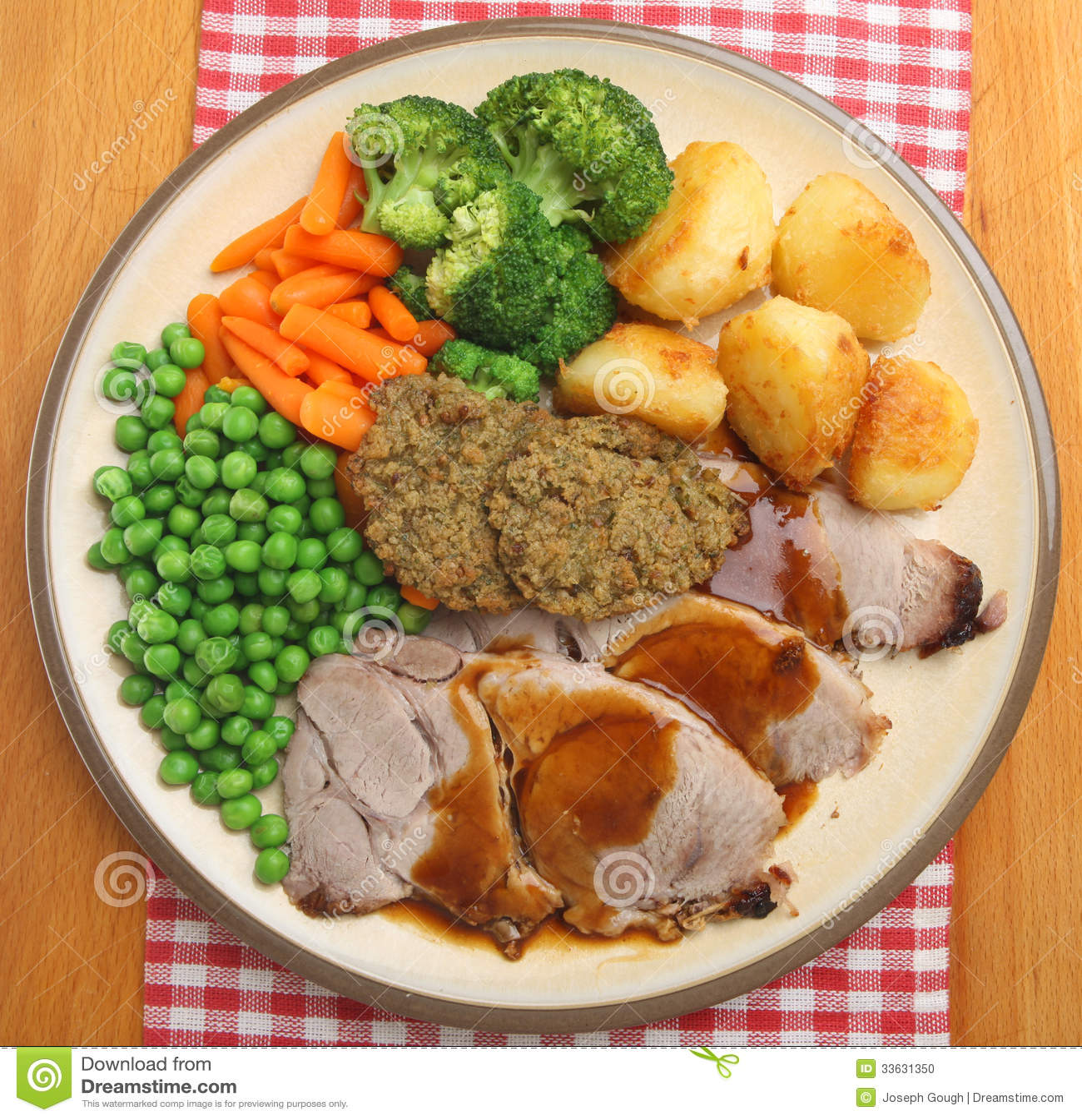 Sunday Roast Pork Dinner From Above Stock Photo - Image: 33631350