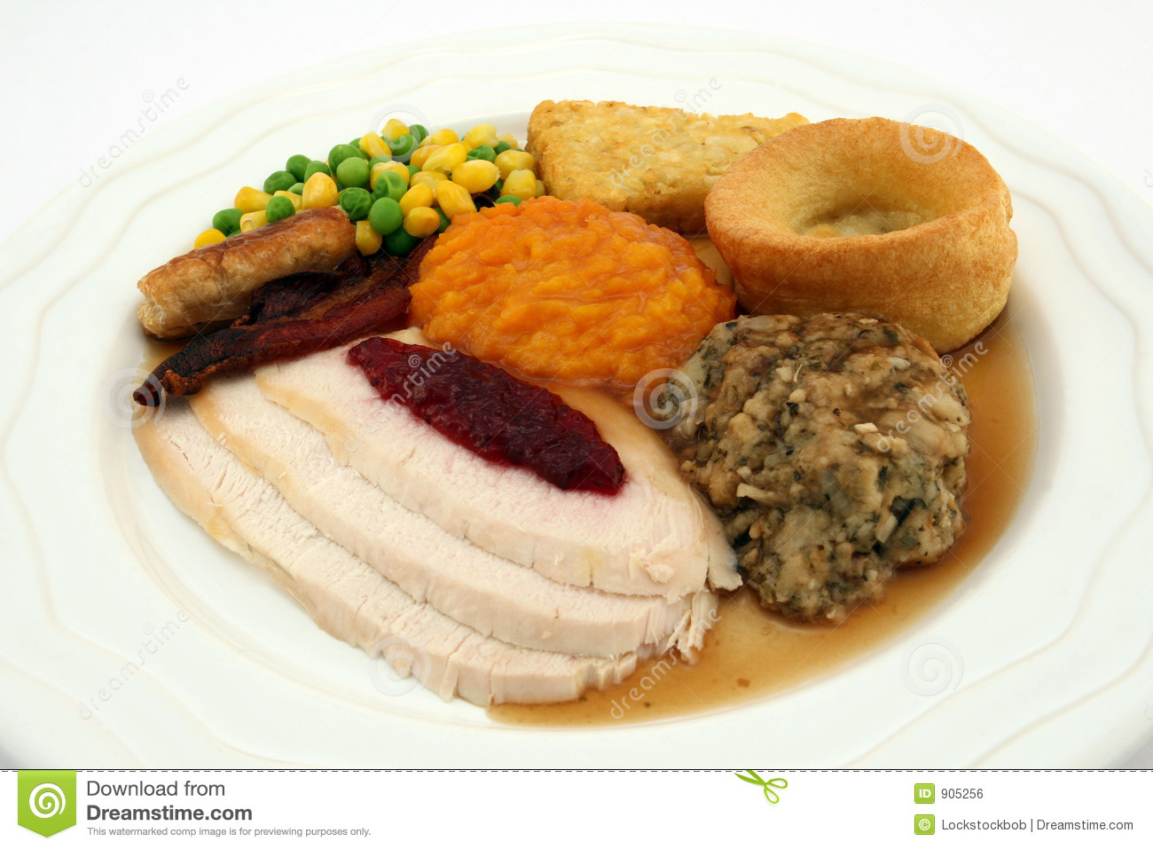 Sunday Roast - Thanksgiving Turkey Dinner Royalty Free ...