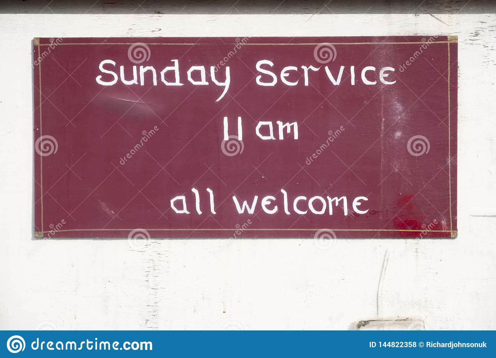 Sunday service all welcome sign at church for religious worship