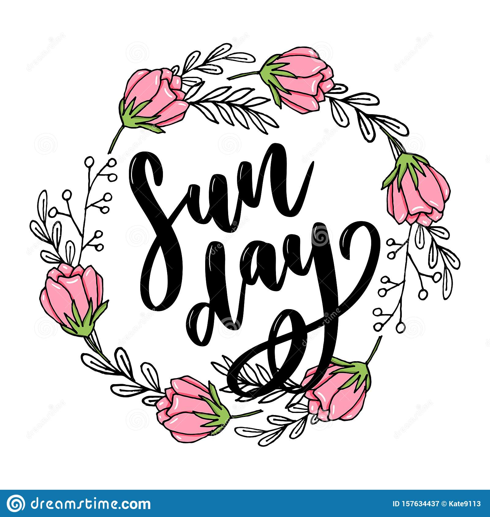 Sunday - Vector hand drawn lettering phrase. Modern brush calligraphy for blogs and social media