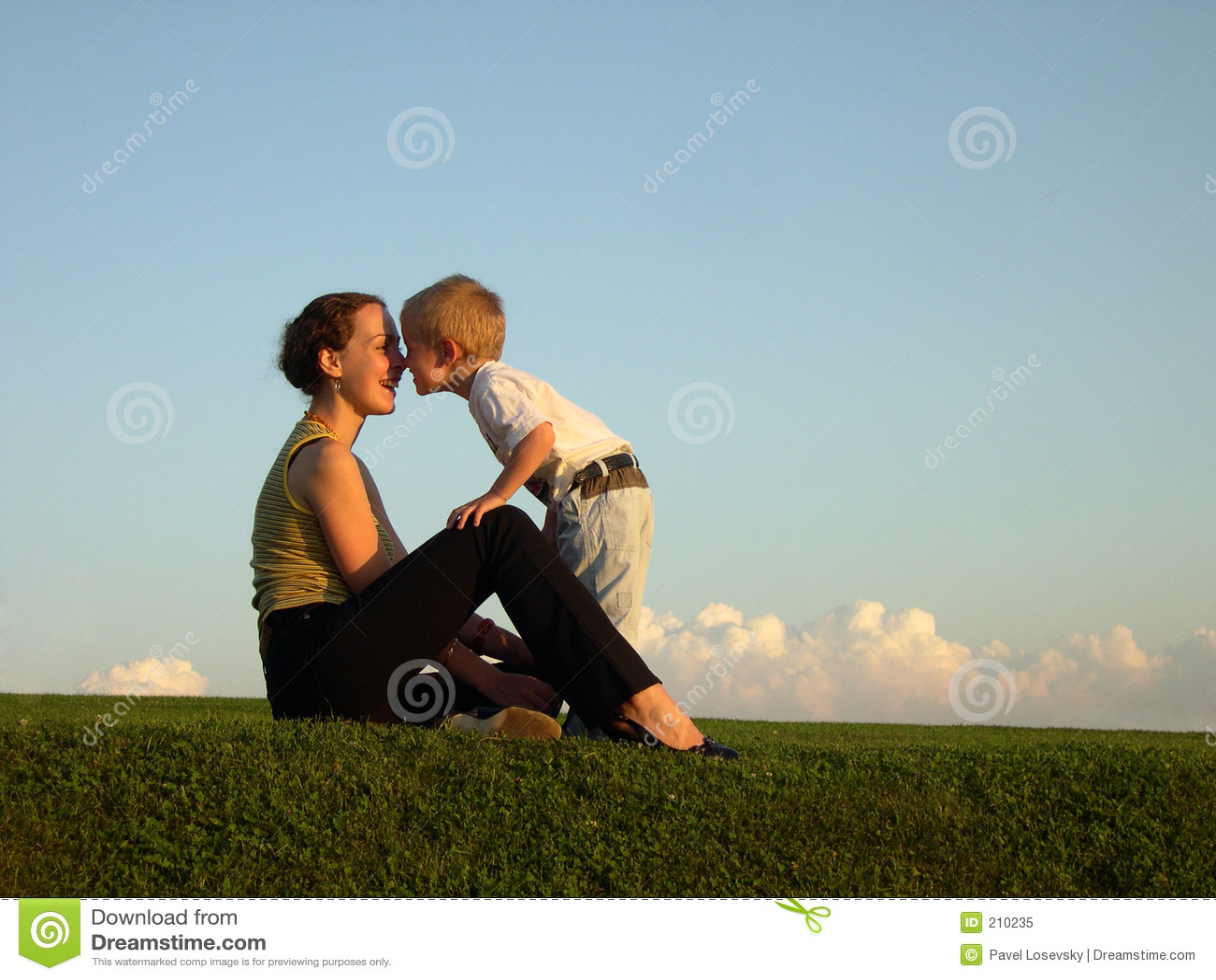 Sundown för son för kyssmodernäsa