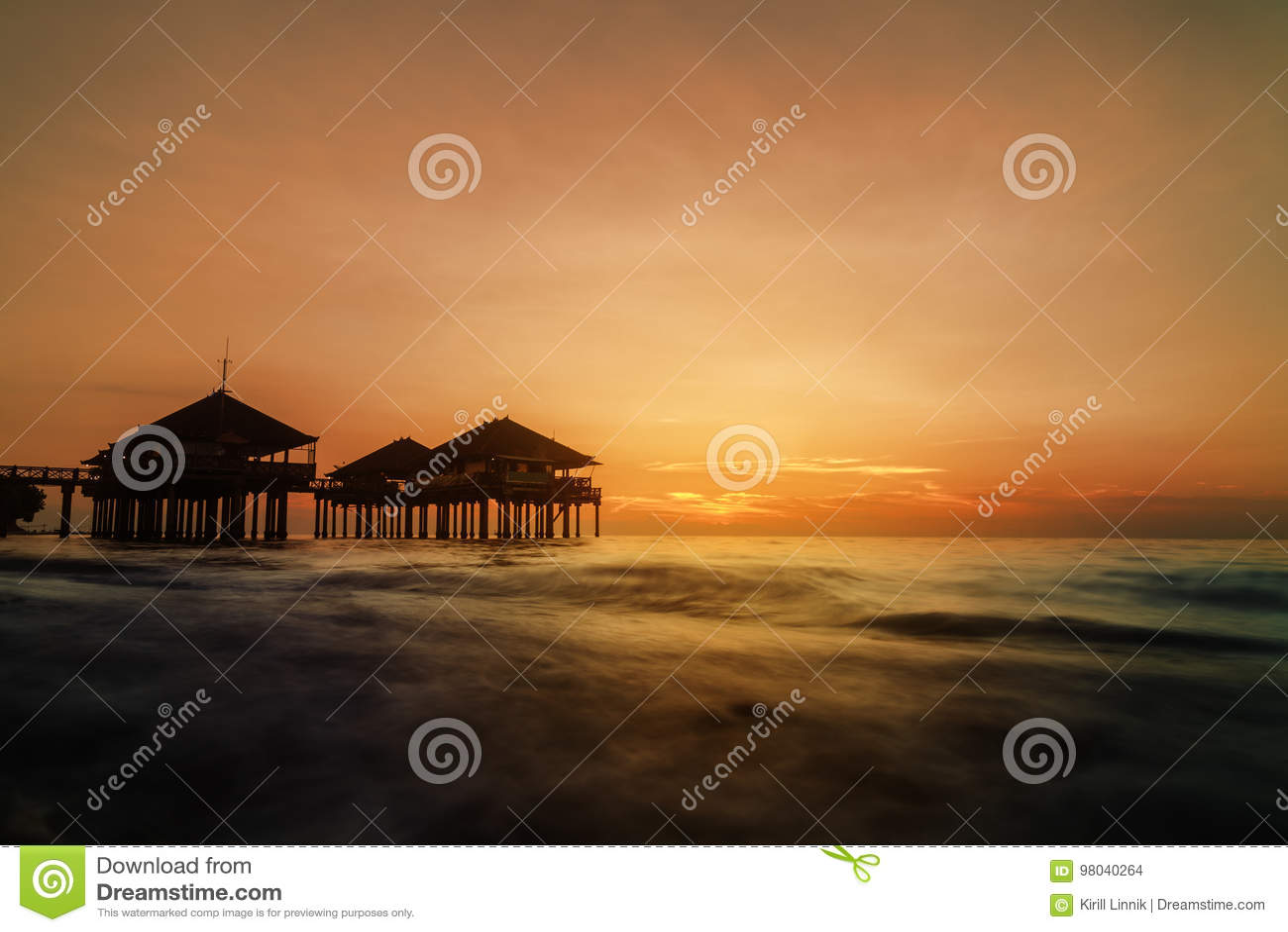 Download Sundown at Singaraja stock photo. Image of beach, ocean - 98040264