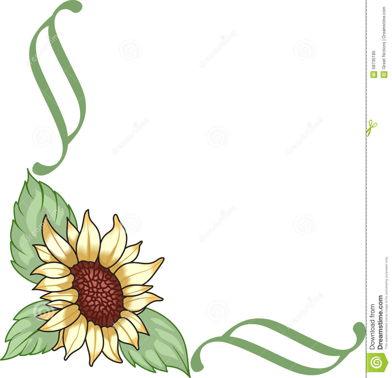 Royalty Free Stock Photo: SUNFLOWER CORNER BORDER. Image ...