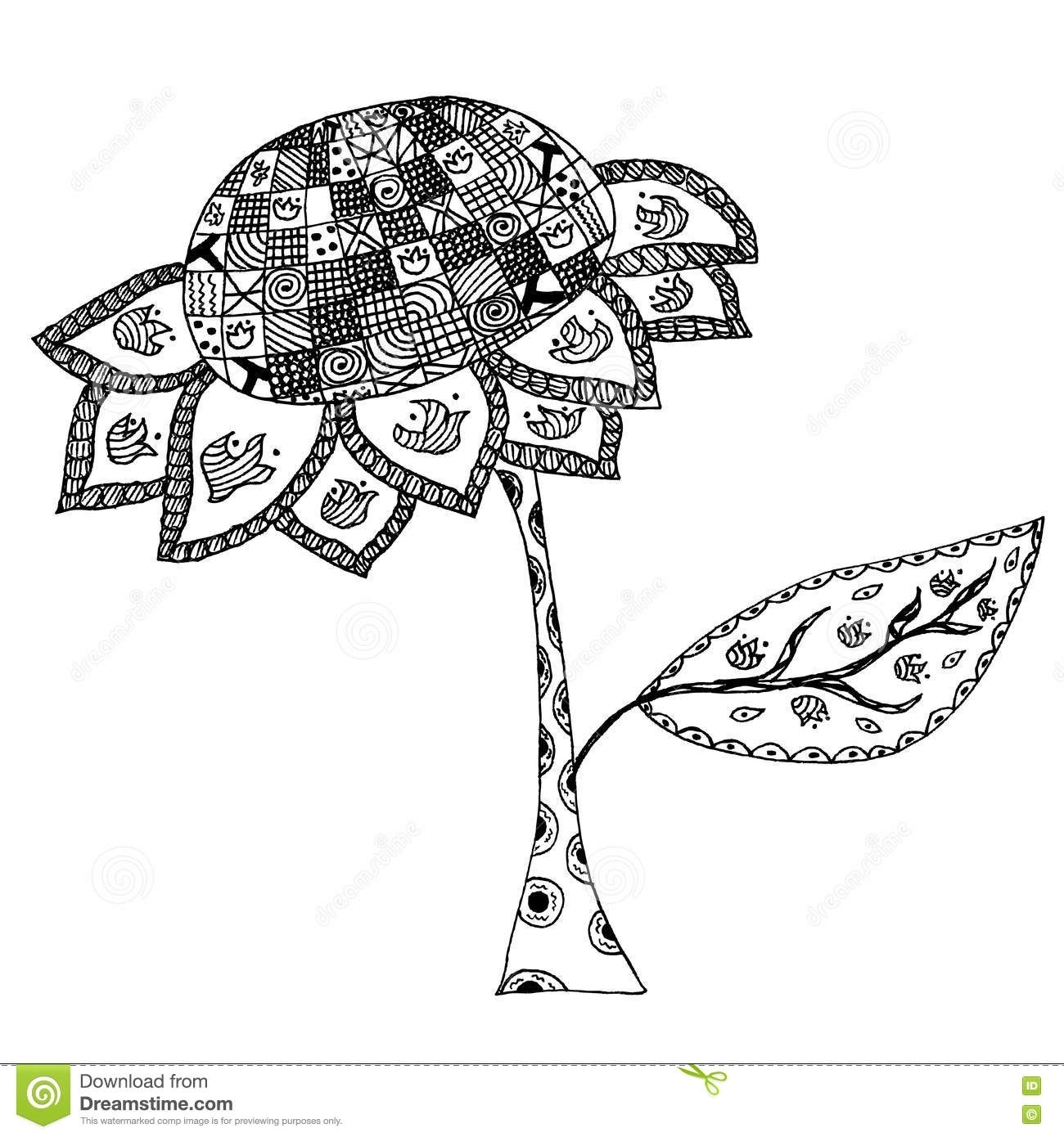 Sunflower In Doodle Style Stock Vector Illustration Of Henna