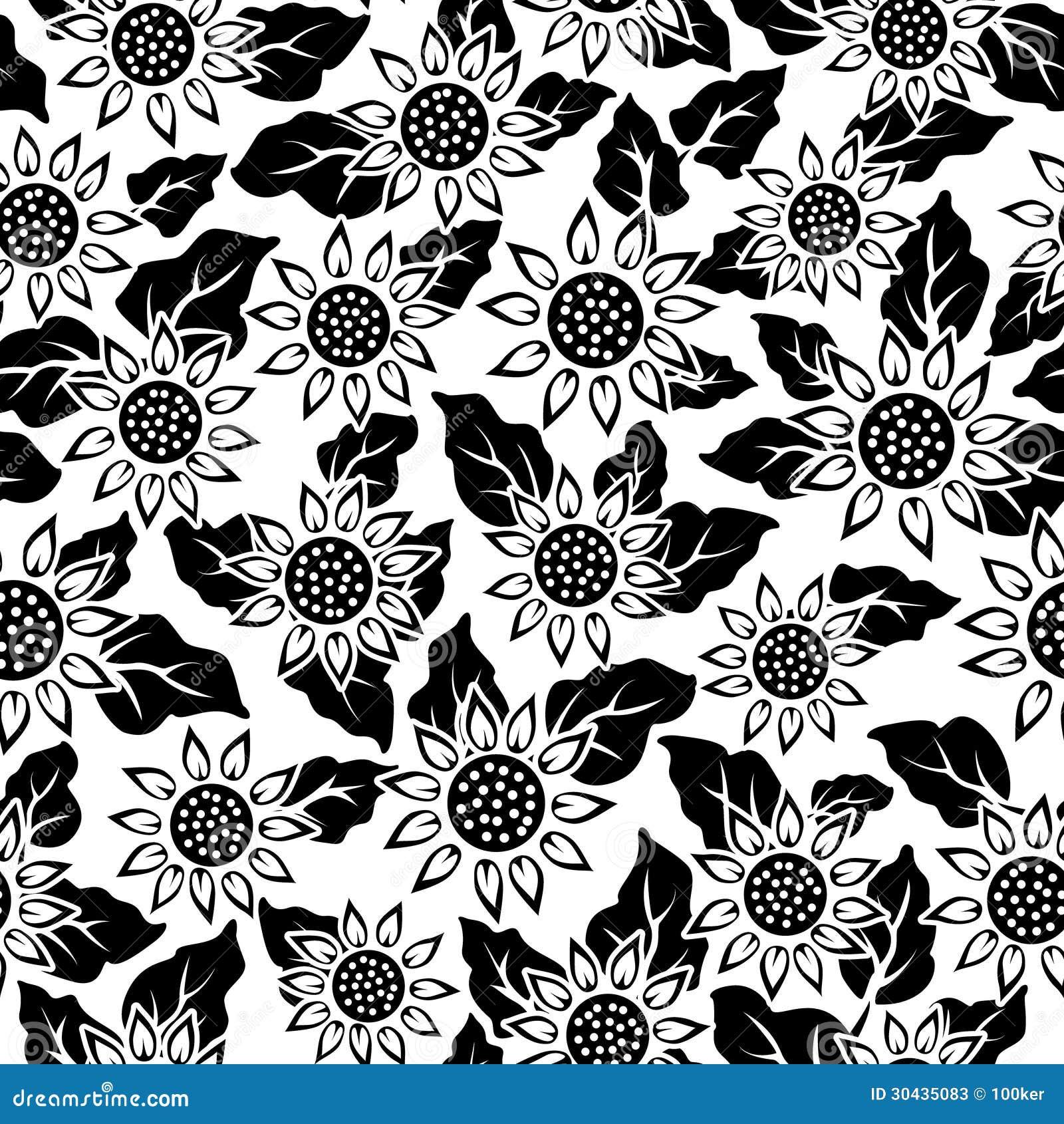 Sunflower Flower Black Isolated Seamless