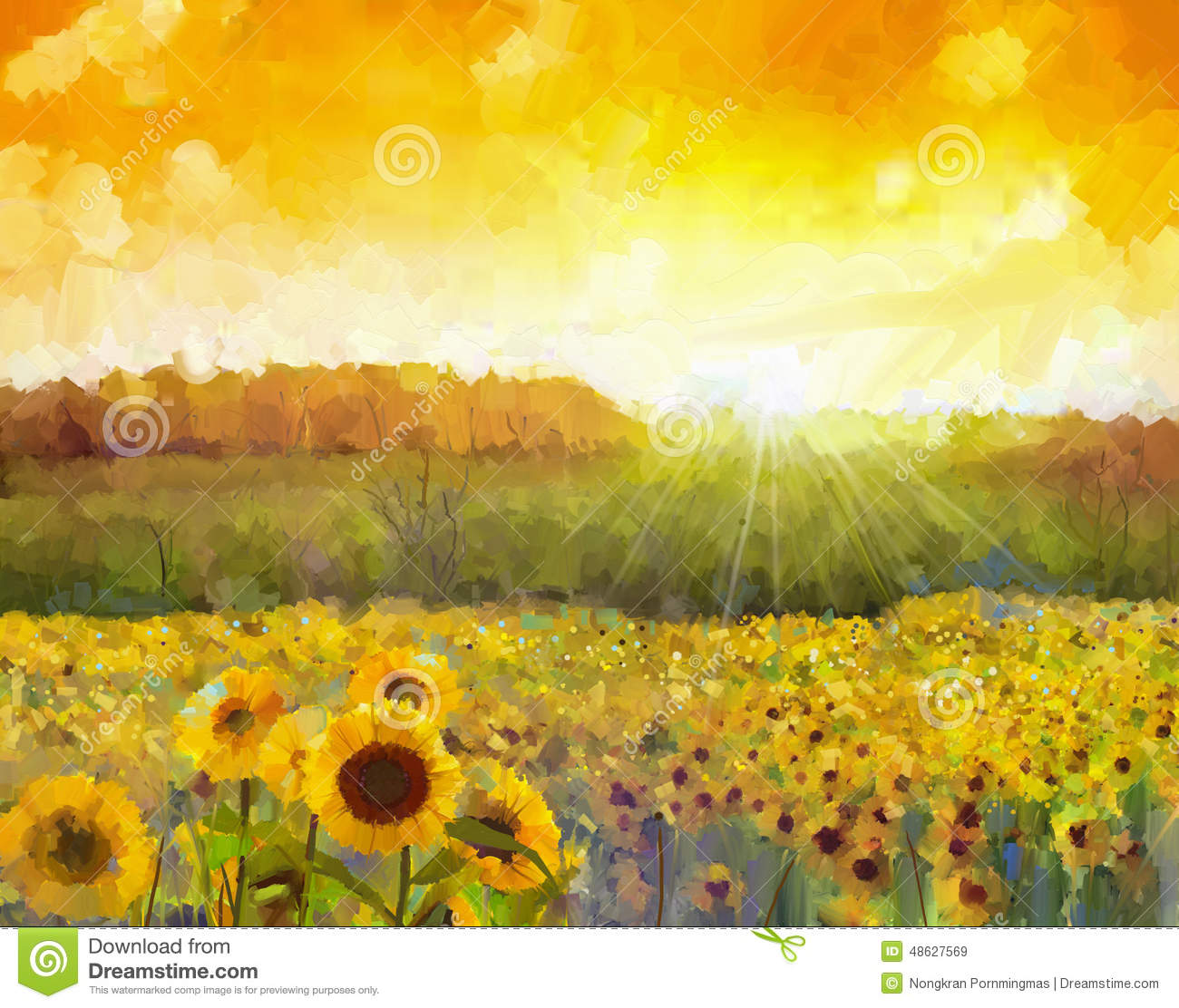 Sunflower Patch Sunflower Flower Blossom Oil Painting Of A Rural Sunset