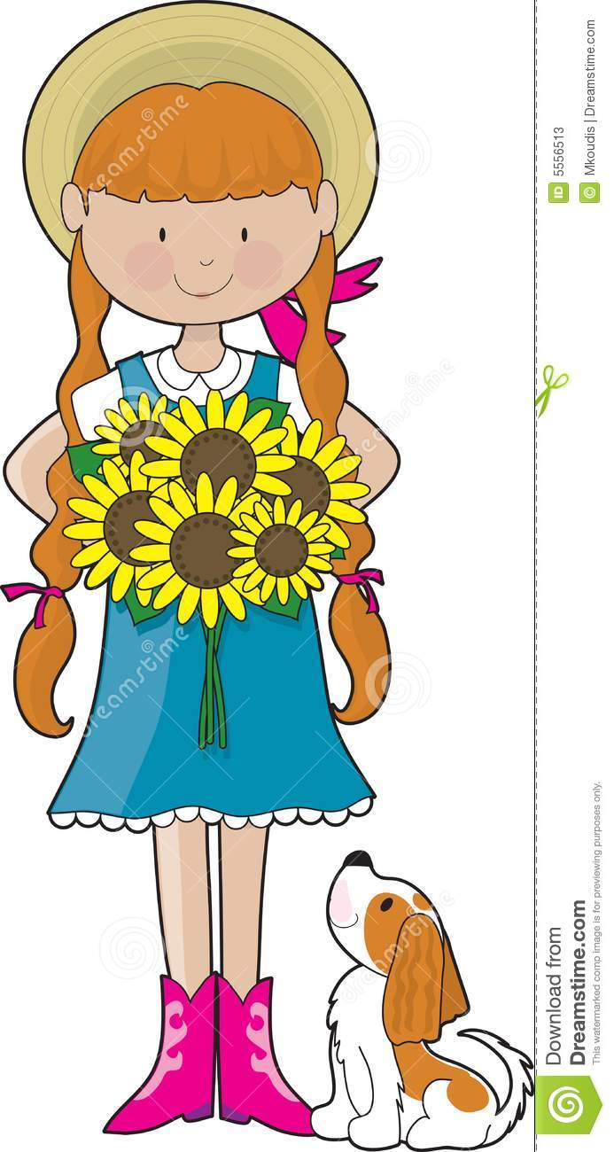 Sunflower Girl stock vector  Illustration of illustration