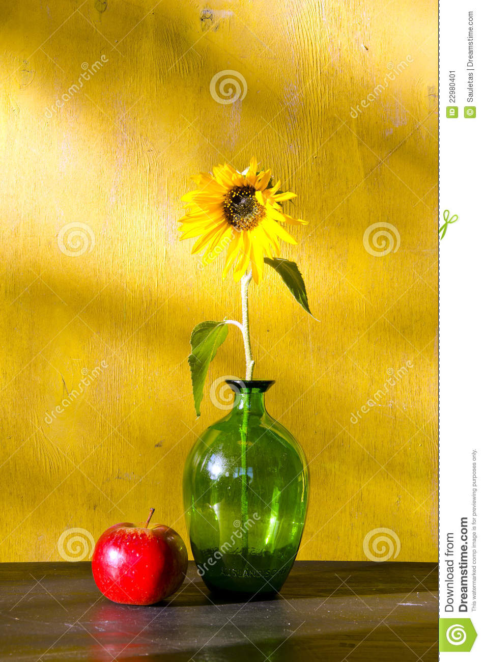 Sunflower In Glass Vase And Red Apple Still Life Stock