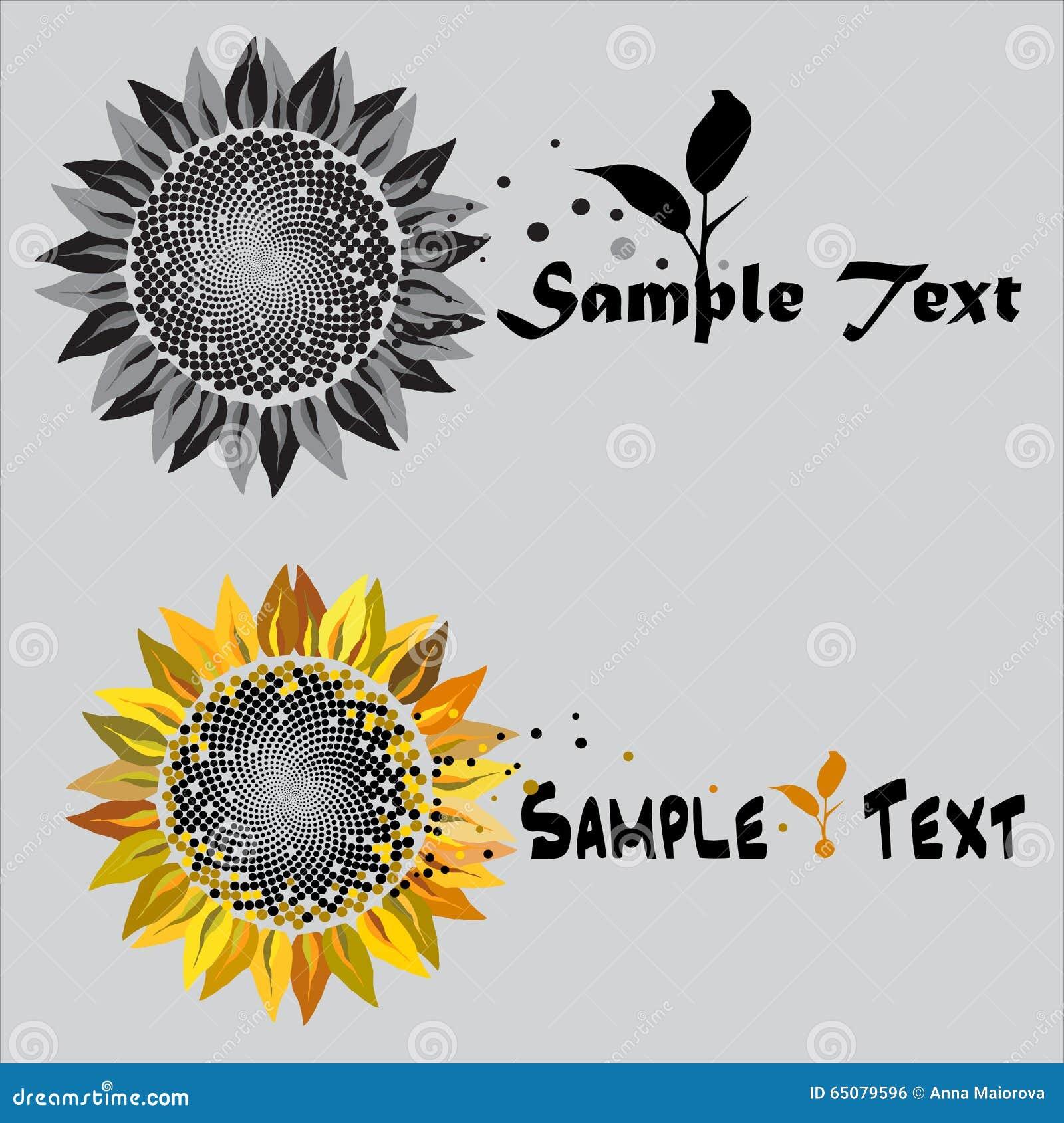 Sunflower Logo Symbol Stock Vector Illustration Of Frame 65079596