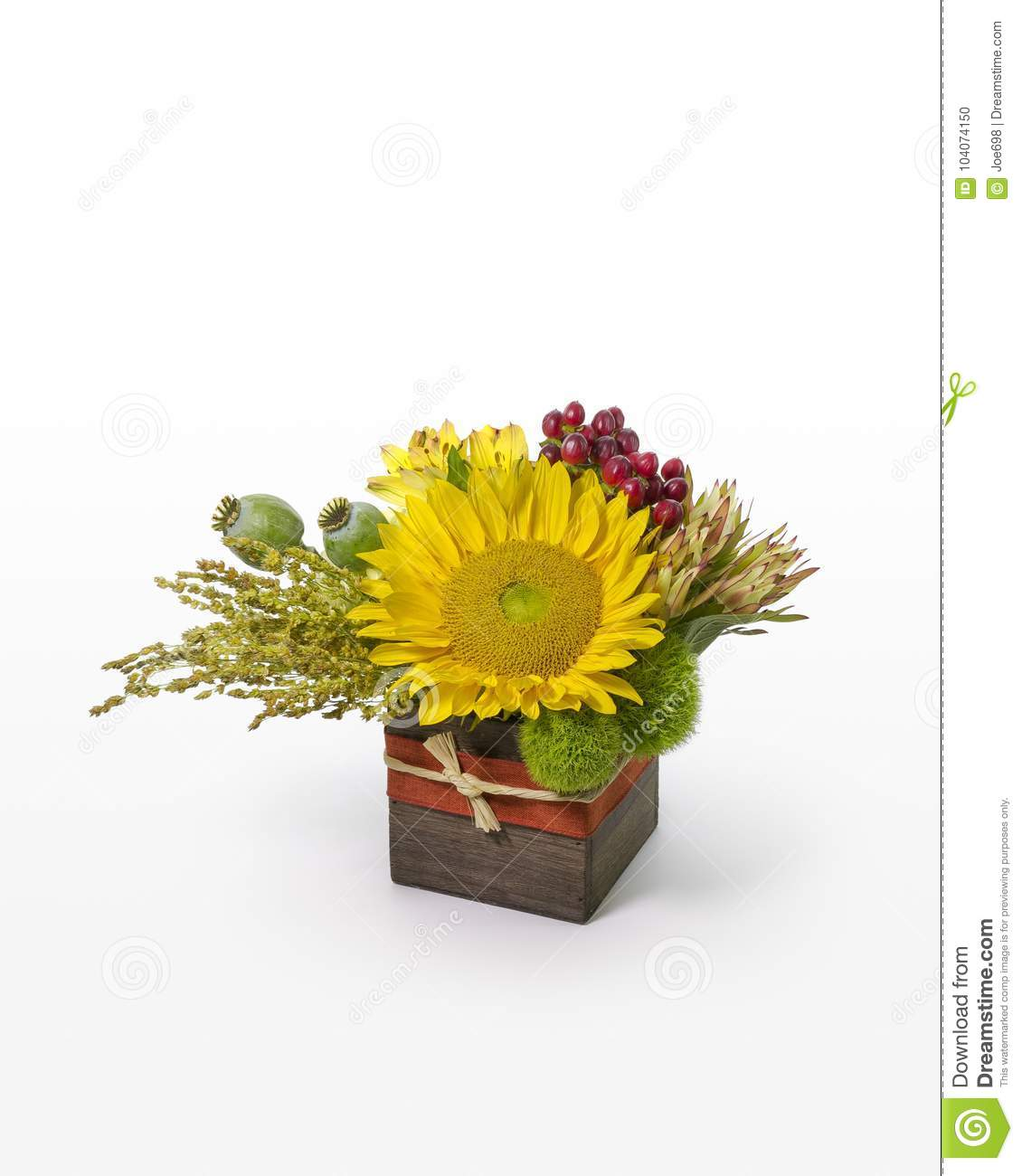 Sunflower And Mixed Flower Arrangement Modern Floral Design In A Rustic Box For Florist Stock Photo Image Of Created Mixed 104074150