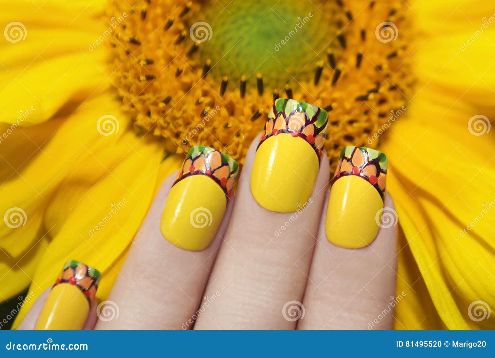 Sunflower Nail Design Stock Photo Image Of Green Long 81495520
