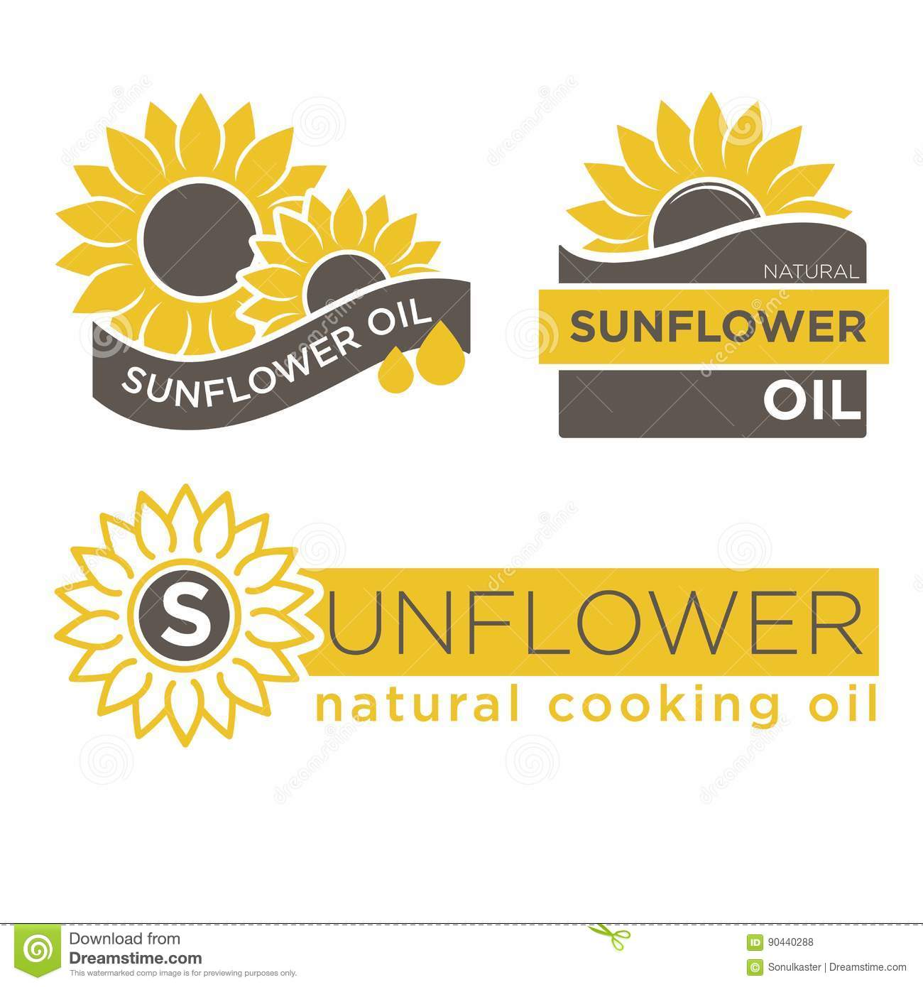 sunflower natural oil product vector label templates stock vector