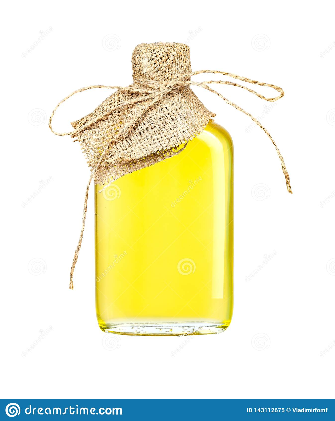 Sunflower oil in a crafted glass bottle isolated on a white background with clipping path