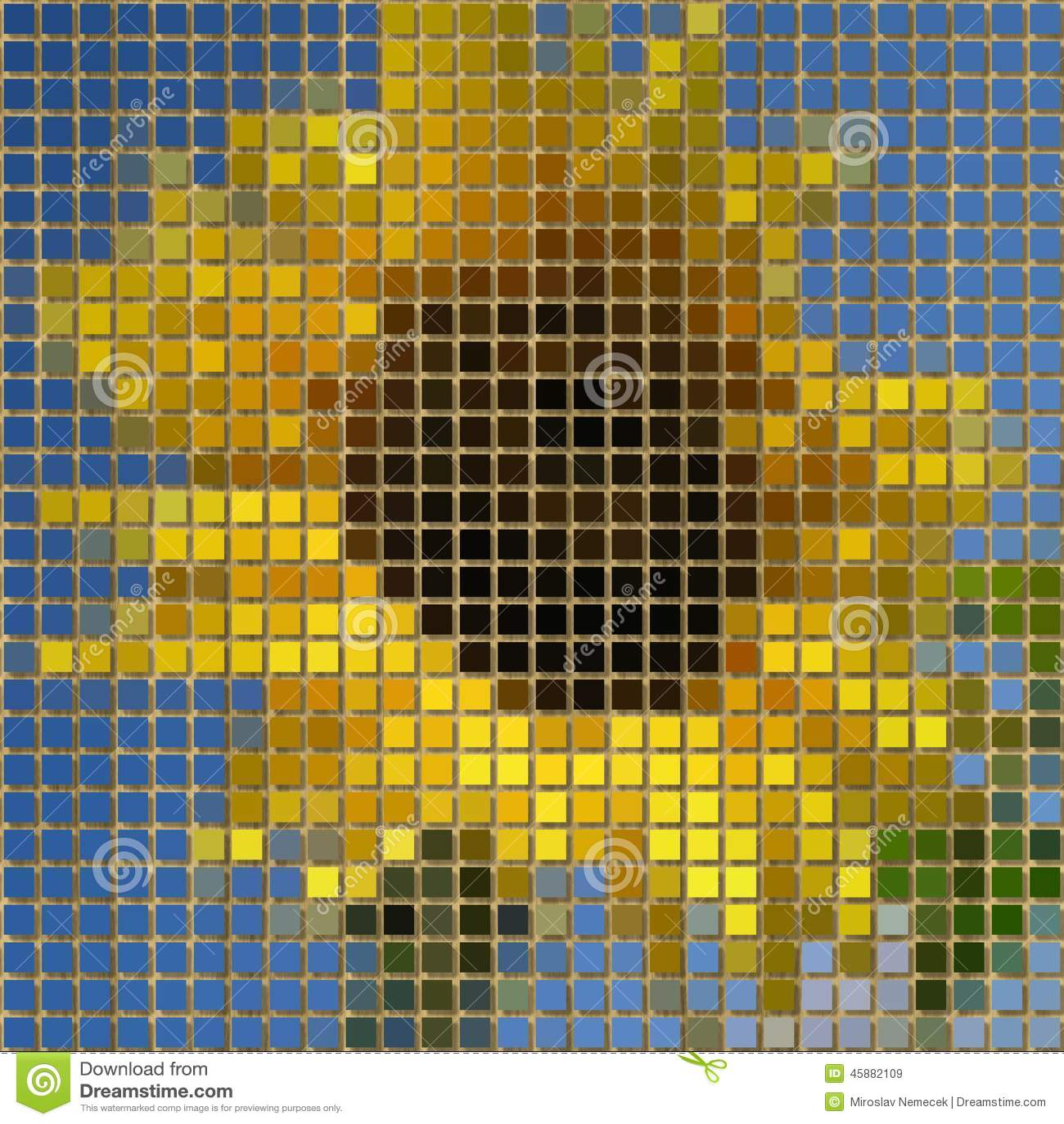 Sunflower Pixelated Image Generated Texture Stock