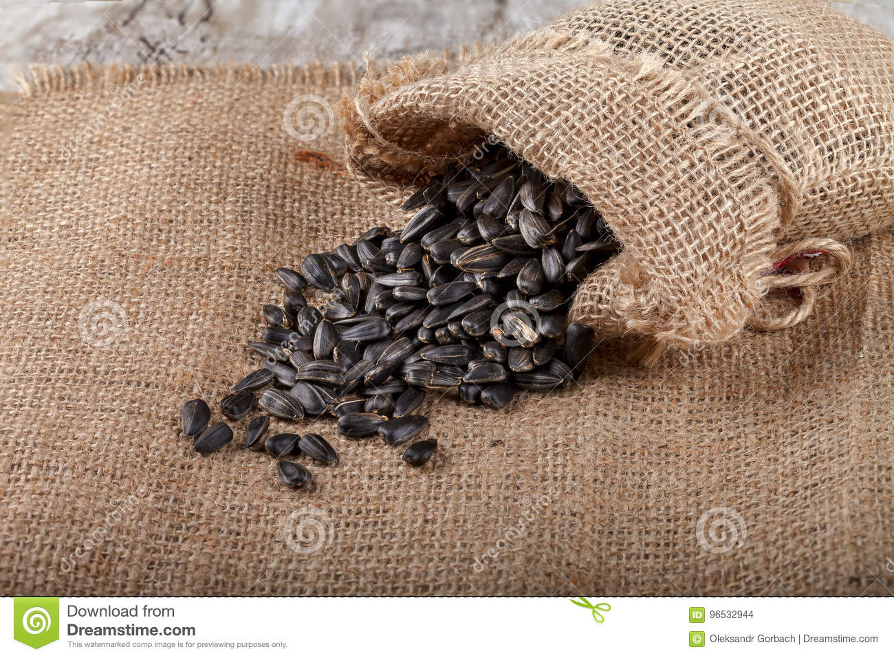 Sunflower Seeds In A Sack On Burlap. Stock Photo - Image ...