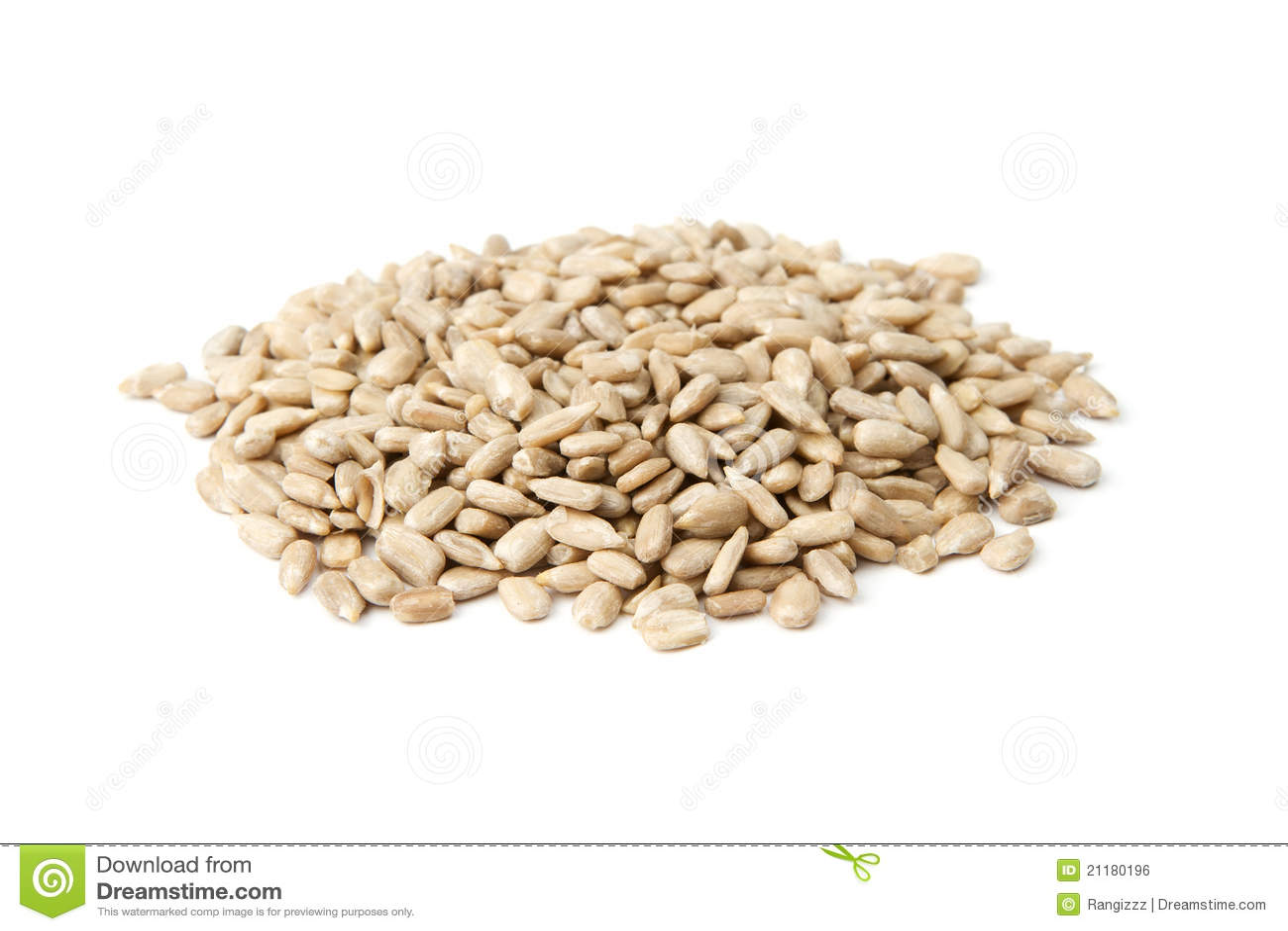 Sunflower seeds on white