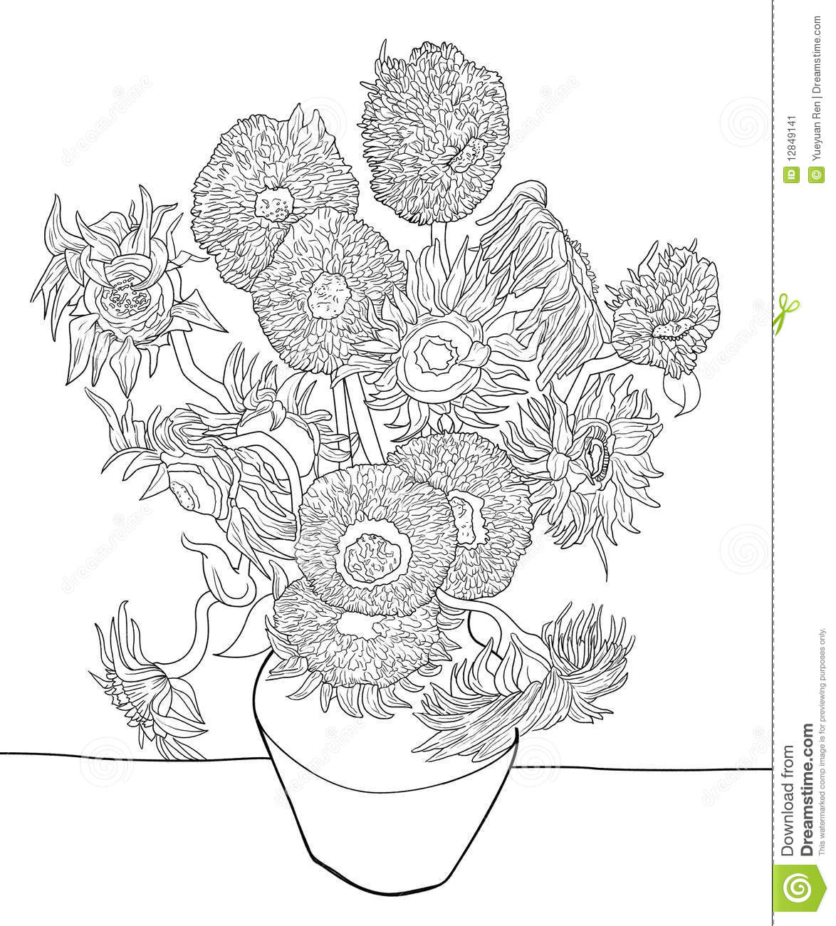 sunflower sketch by van gogh stock illustration image