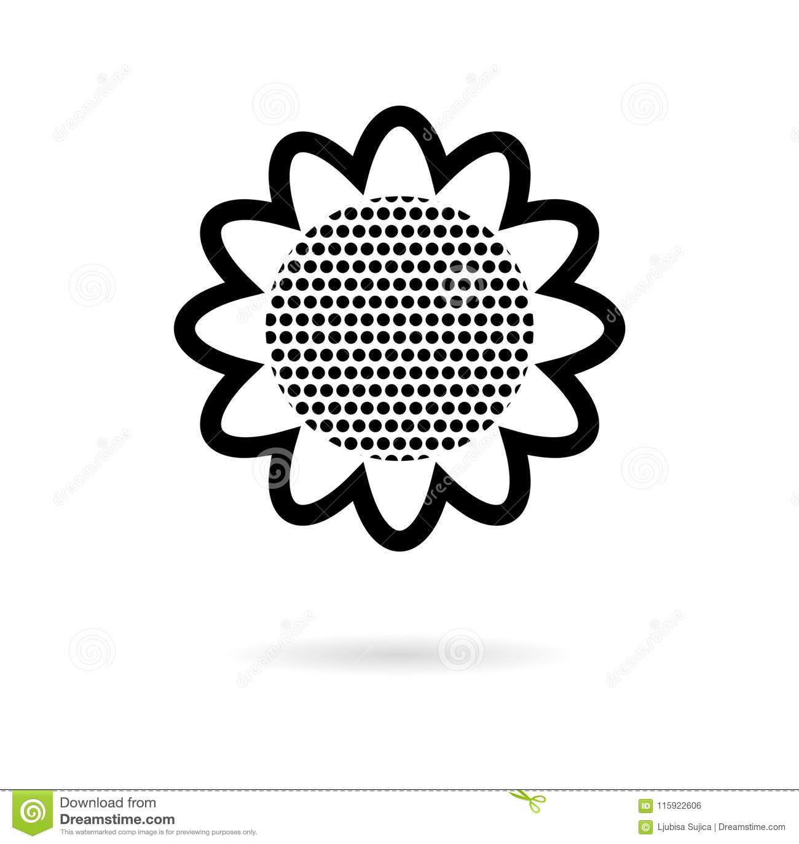 Black Sunflower Symbol Icon Stock Vector Illustration Of Black