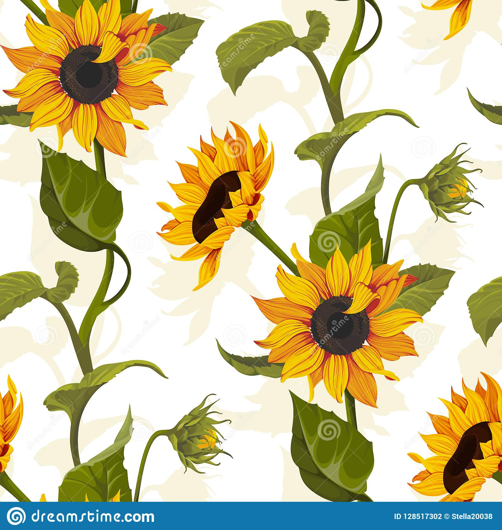 Sunflower Vector Seamless Pattern Floral Texture On Bright ...