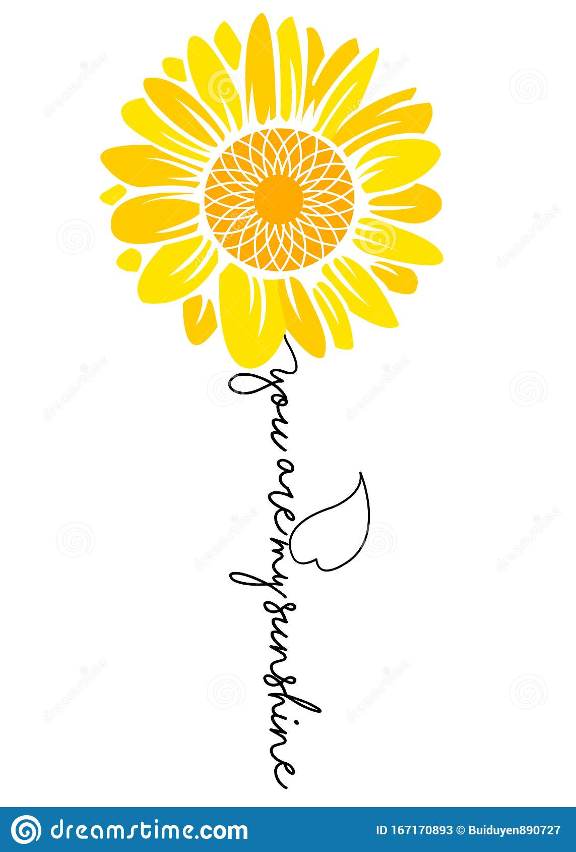 Sunflower You Are My Sunshine Stock Image Image Of Decorative Aquarelle 167170893