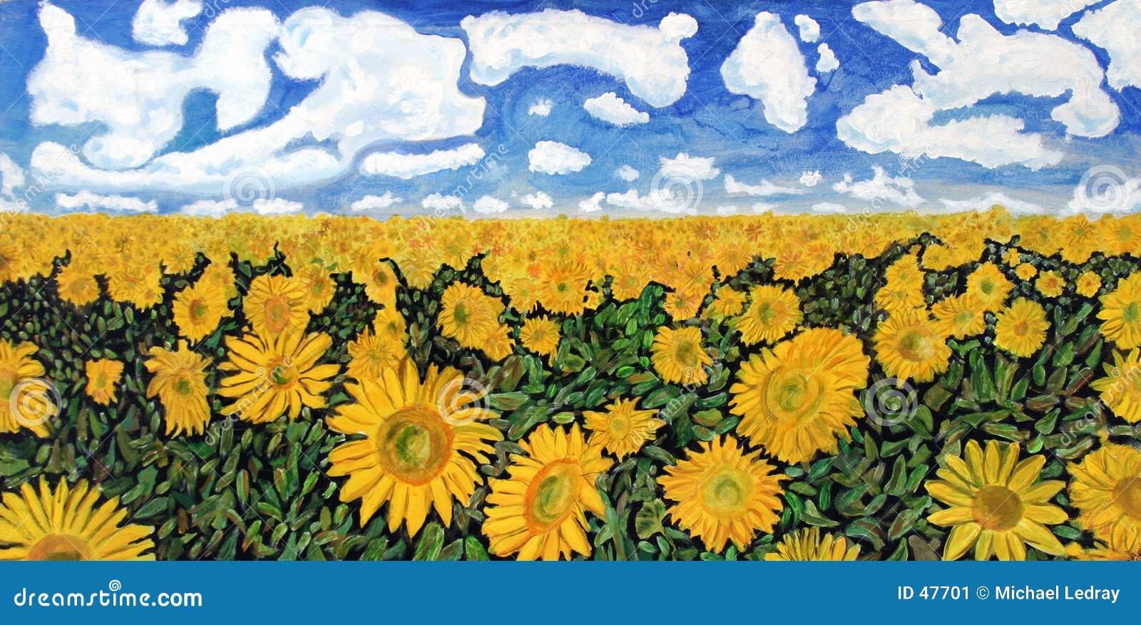 Download Sunflowers stock illustration. Illustration of blue, sunflowers - 47701