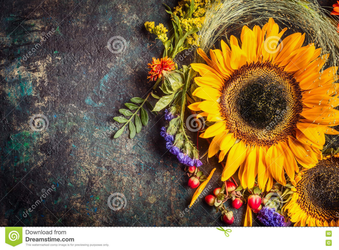 Sunflowers With Berries And Flowers Floral Autumn Decoration On