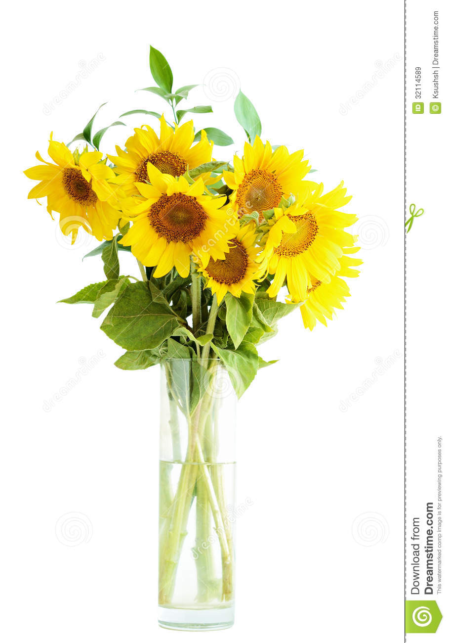 Sunflowers Bouquet In A Vase Royalty Free Stock Images ... Yellow Stock Flower Centerpiece