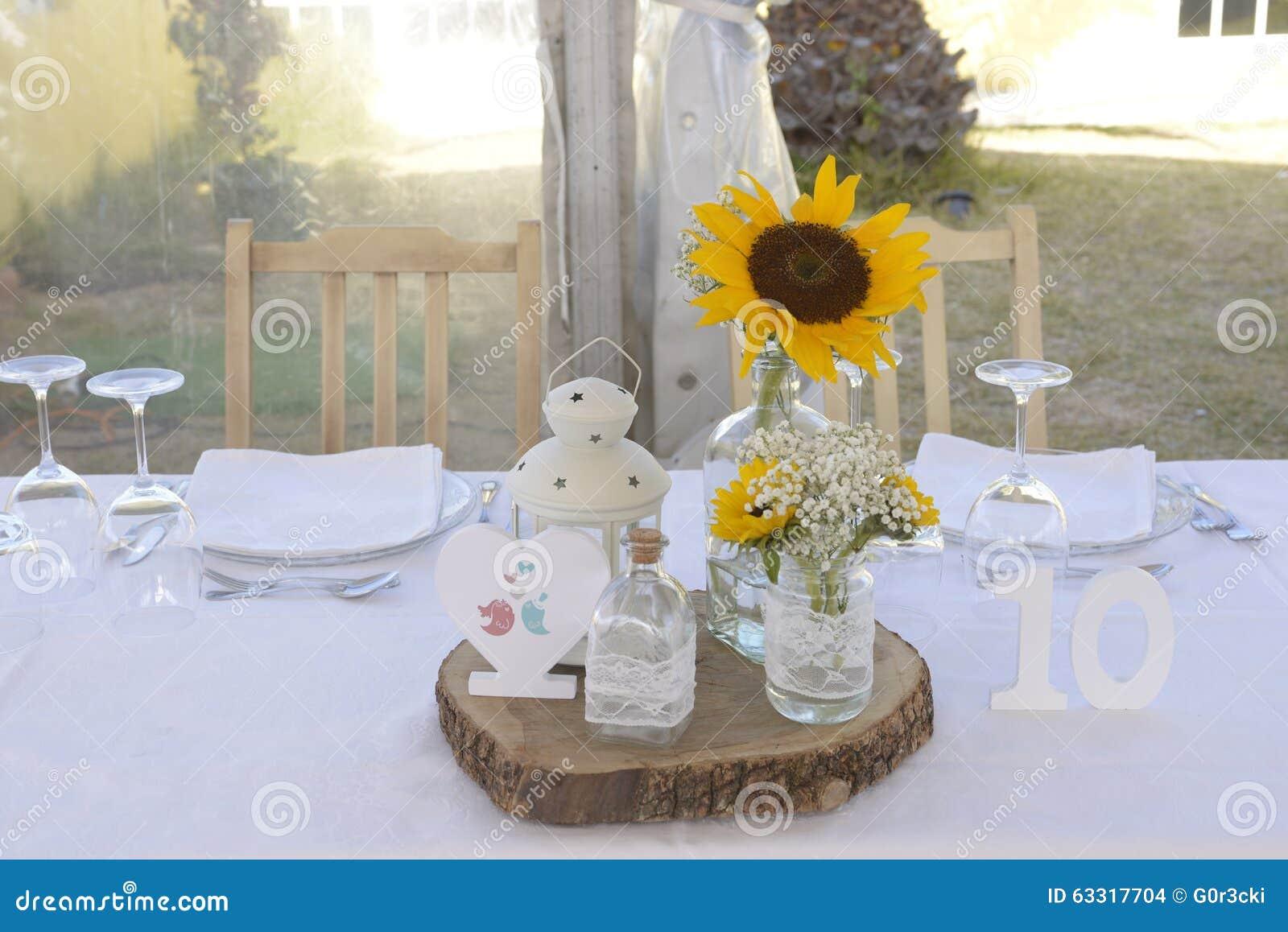 Sunflowers centerpiece table ten decoration stock