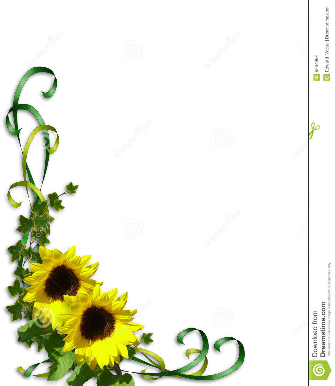 Sunflowers Corner Invitation Template Stock Illustration