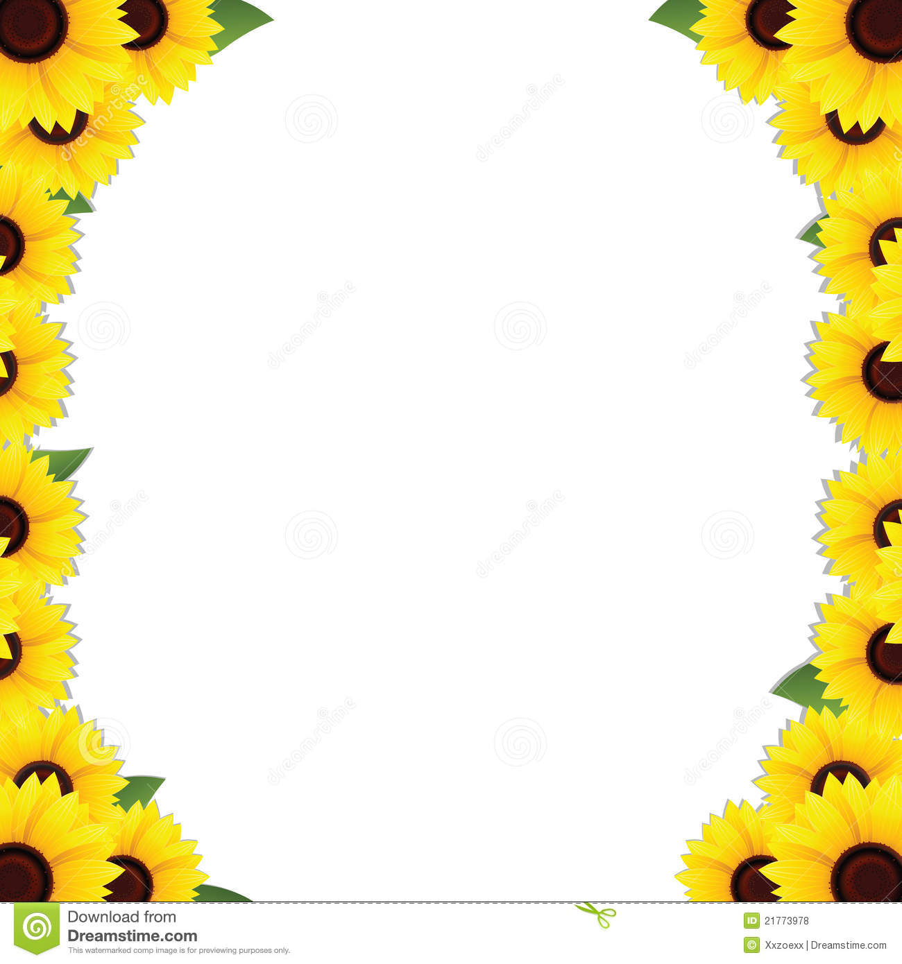 Sunflowers Frame Borders Stock Vector Image Of Concept