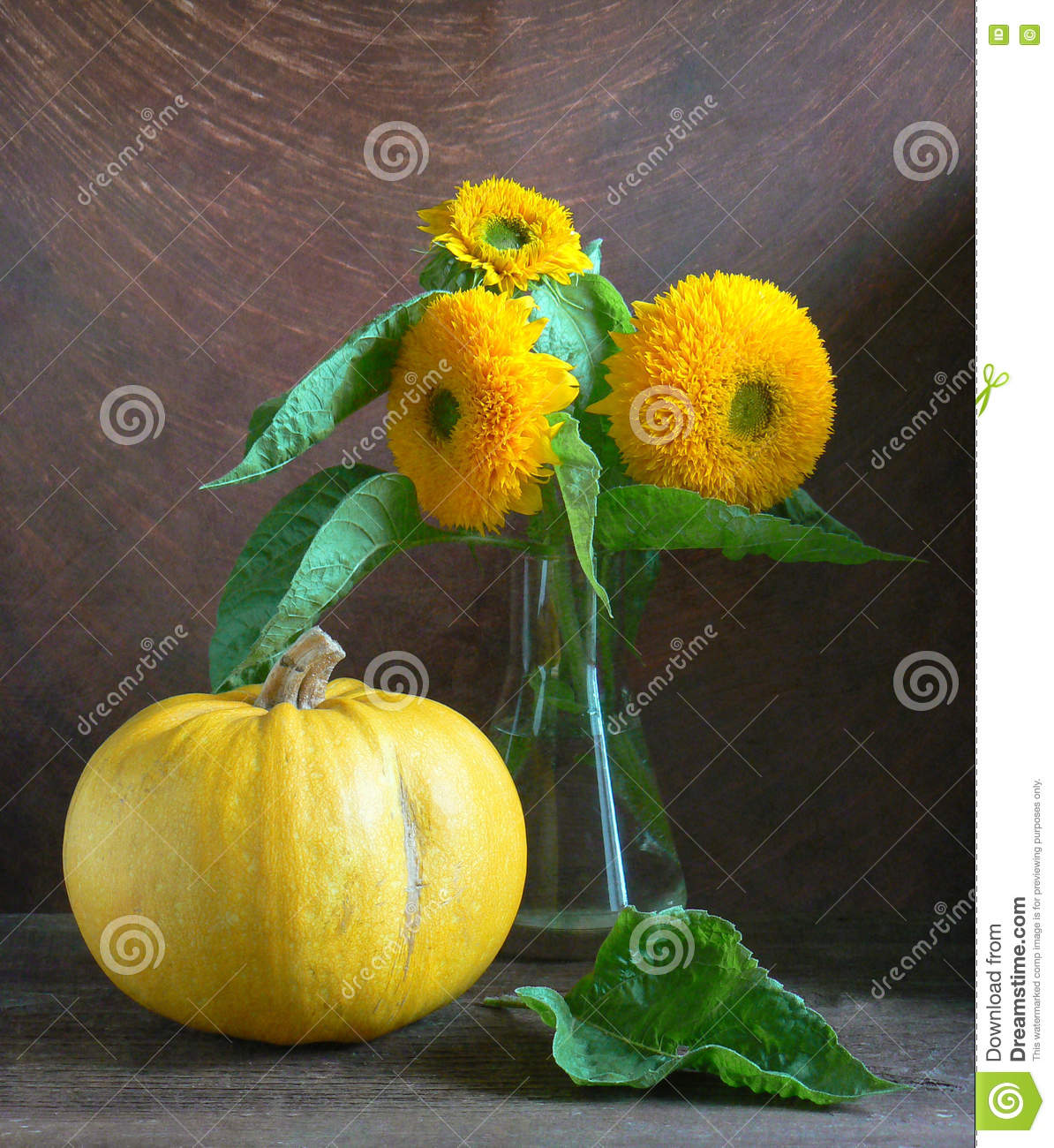 Sunflowers with pumpkin