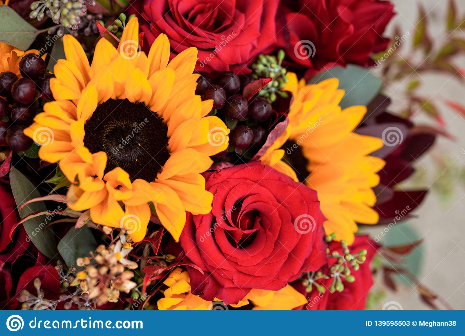 Sunflowers And Red Rose Wedding Bouquet Close Up Stock Image Image
